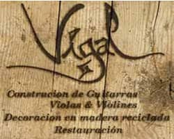 vigal luthiers, logo, madera