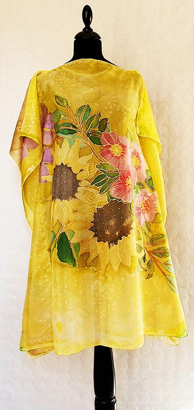 caftan de seda natural para mujer de colore