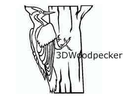 3dwoodpecker, logo, talladas en madera