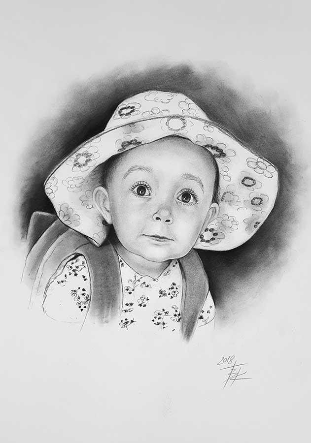 retratos en carboncillo, pintura, cuadros