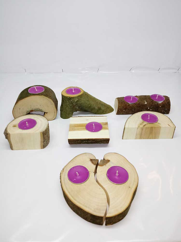 madera y hierro, portavelas de madera, decoracion