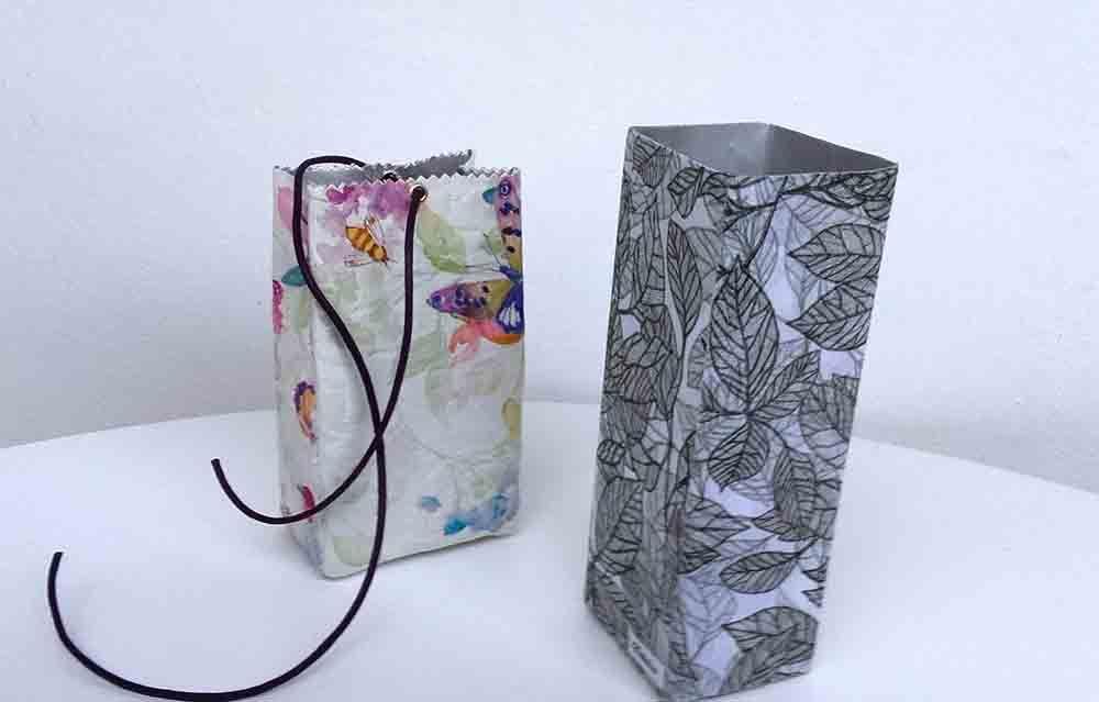 cajas ecologicas, reutilizables, bolsas de tela