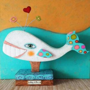 ballena, escultura, carton, artesania