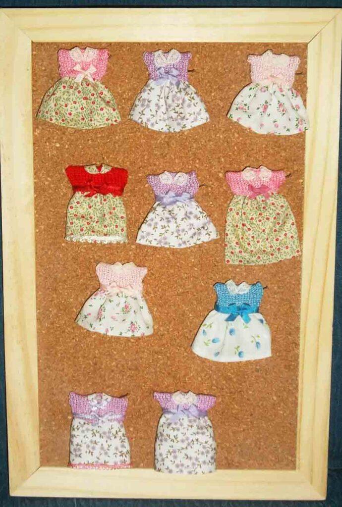 muñecas de porcelana, vestidos de punto, casas de muñecas