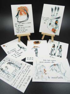 postales, frases motivadoras, pintura