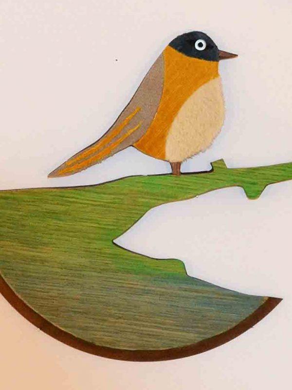 reciclaje, cuadro de pajaros de madera